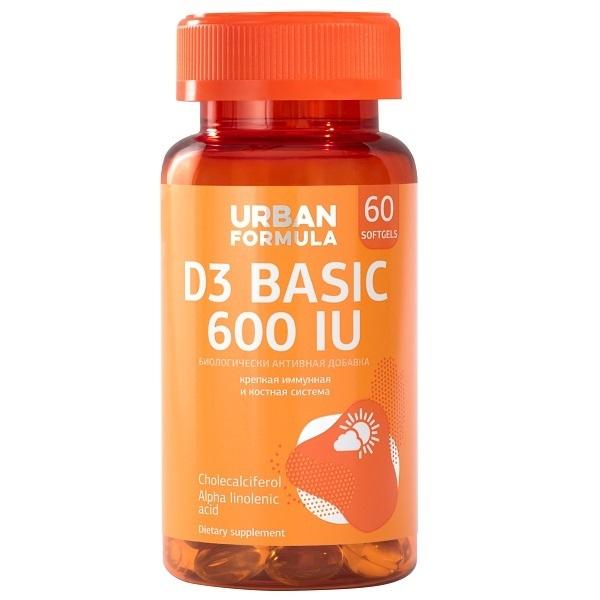 Купить Витамин Д3 600 МЕ Urban Formula D3 Basic 600 UI капсулы 60 шт.