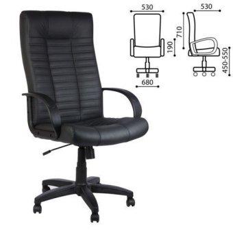 Кресло офисное Атлант, кожа, черное, 32853