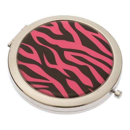 Купить Зеркало Dewal «Дикая природа» карманное круглое розовый тигр