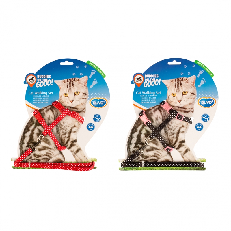 Шлейка для кошек Duvo+, Белые точки 11218/DV