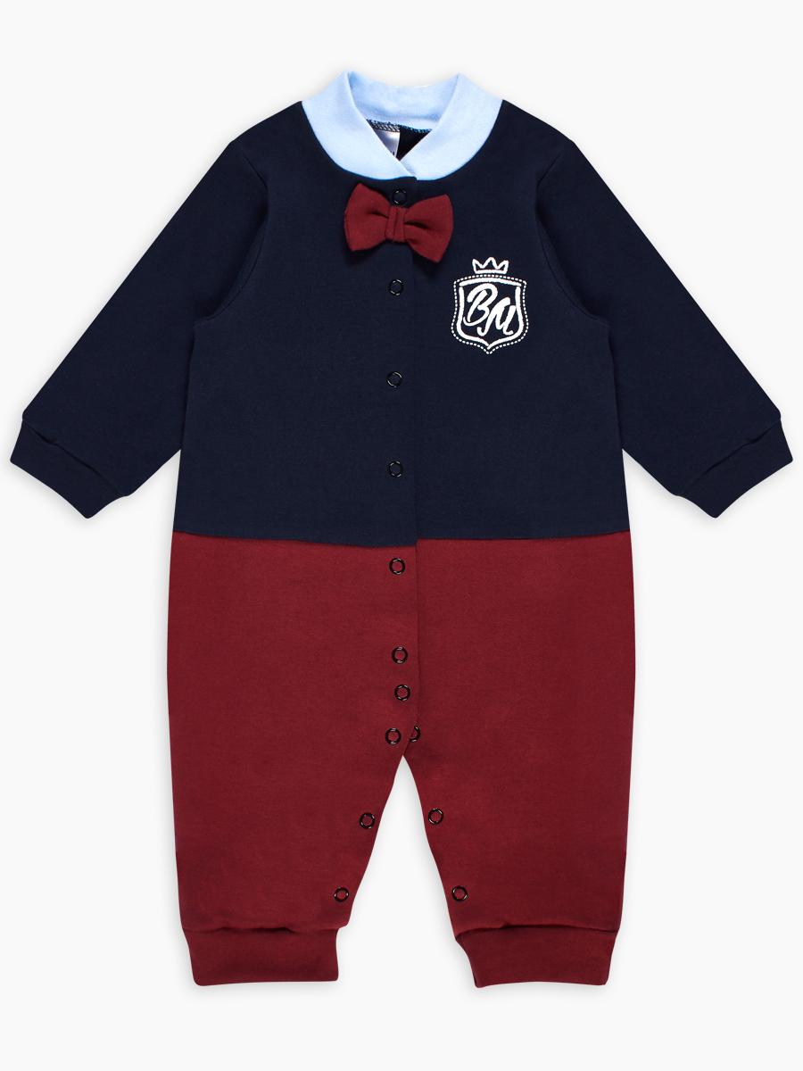 Купить Комбинезон детский Веселый малыш Маленький Джентльмен 357/322/мд/Бордовый-синий р.68,