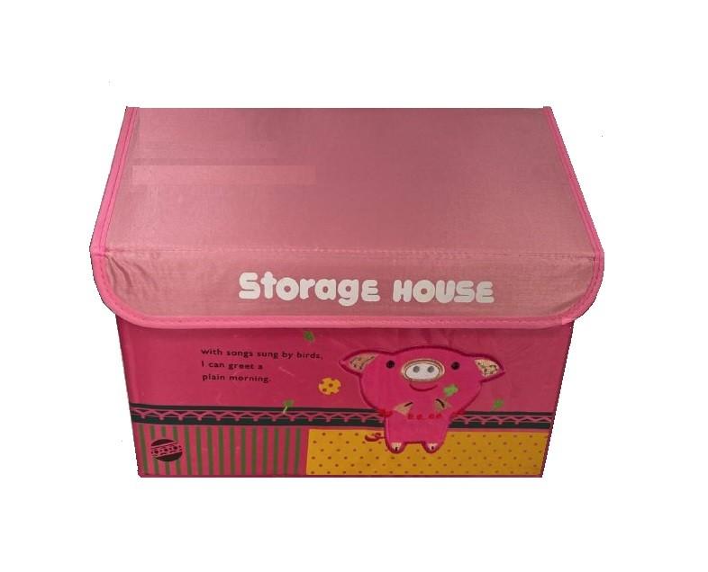 Складной короб для хранения игрушек Домик Свинка розовый NoBrand