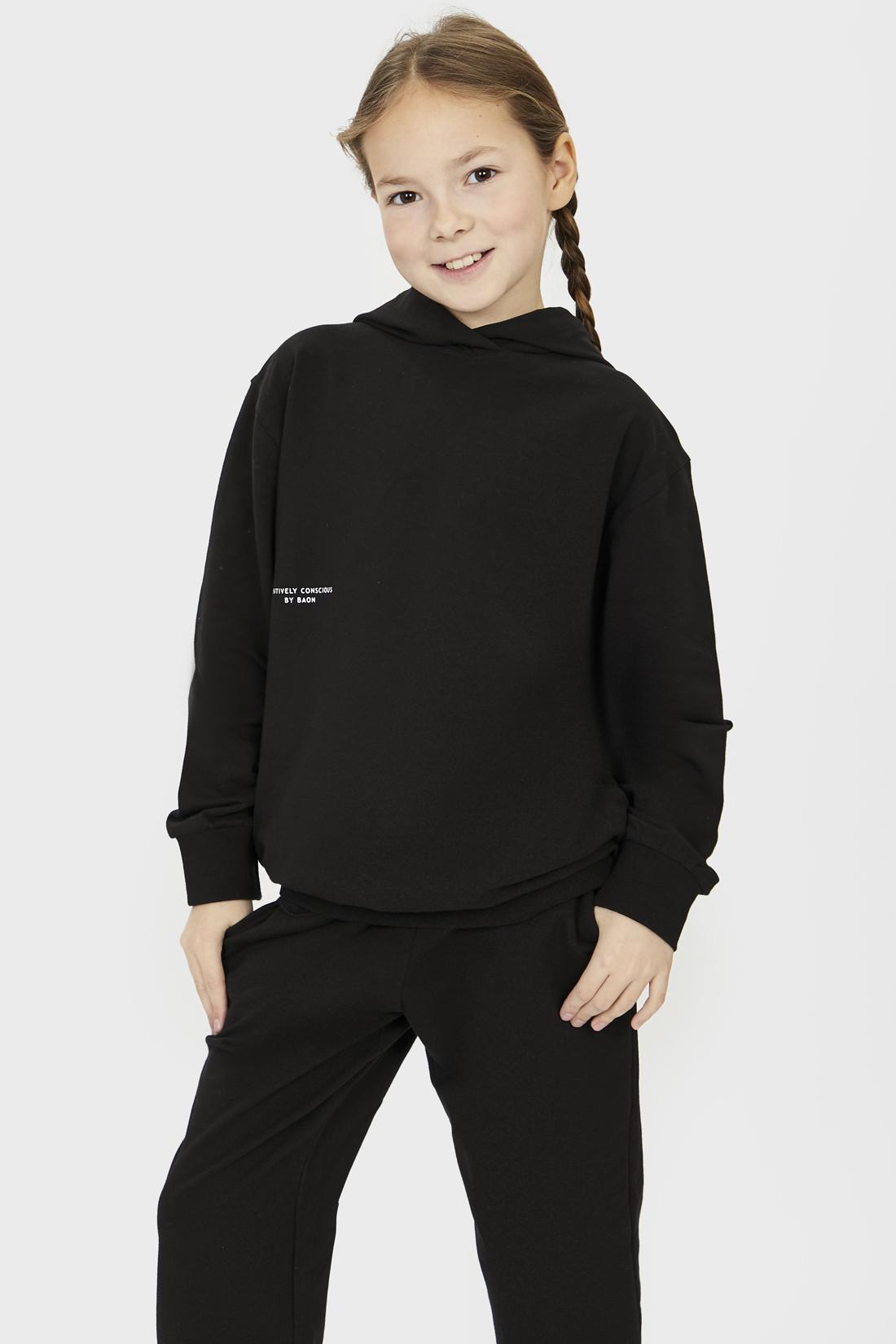 Купить Худи для девочки Baon BK111001 цв. черный р.140,
