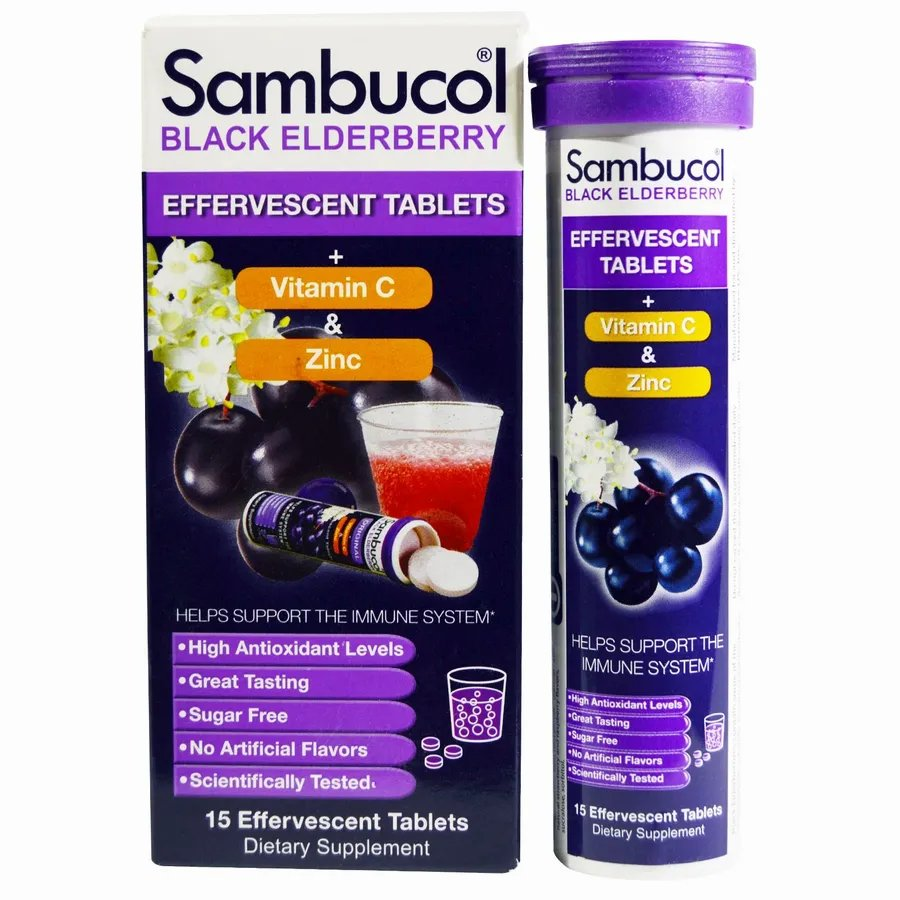 SBL-00129, Черная бузина Sambucol шипучие таблетки 15 шт.  - купить со скидкой
