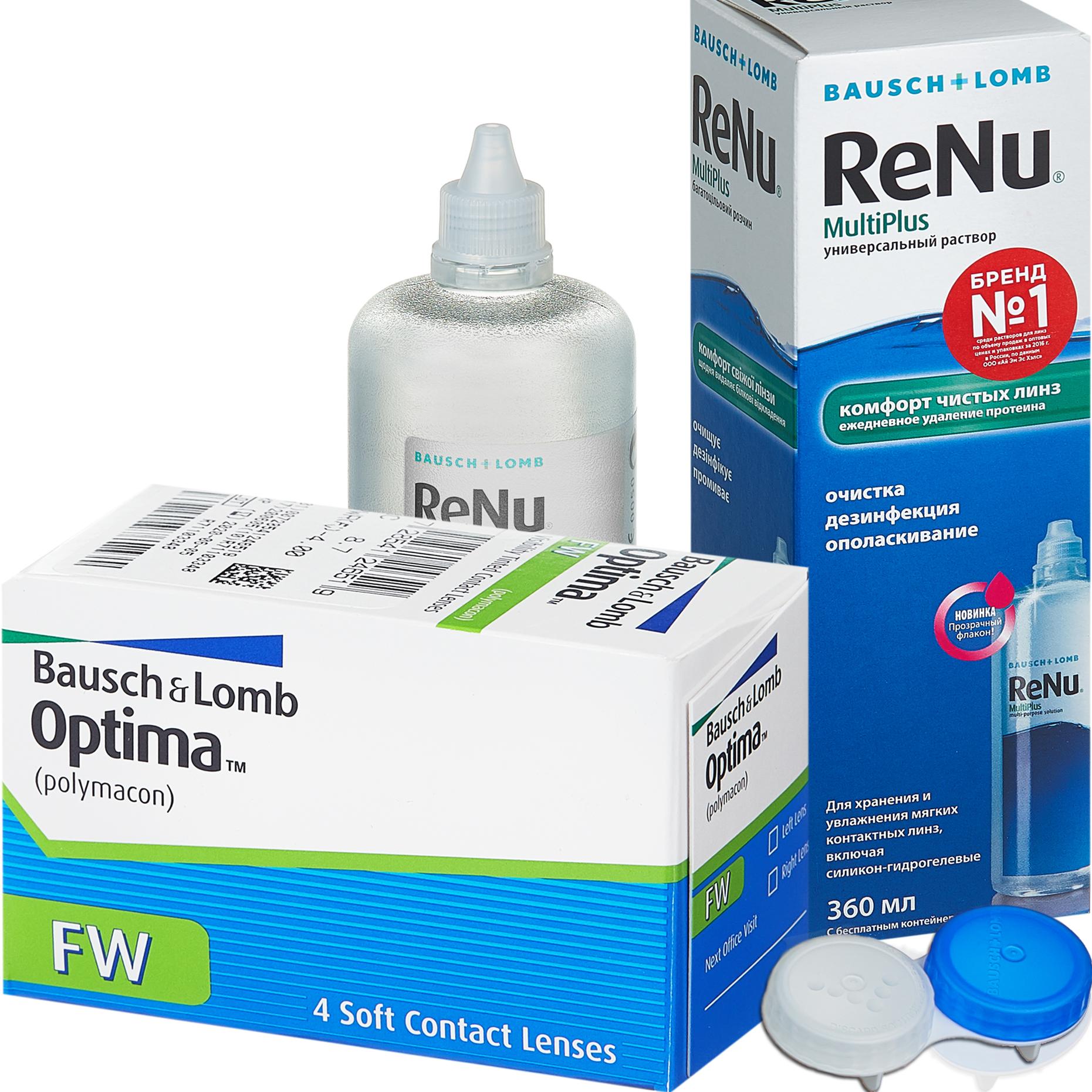 Купить Optima FW 4 линзы + ReNu MultiPlus, Контактные линзы Optima FW 4 линзы R 8.7 -7, 50 + Раствор ReNu Multi Plus 360 мл