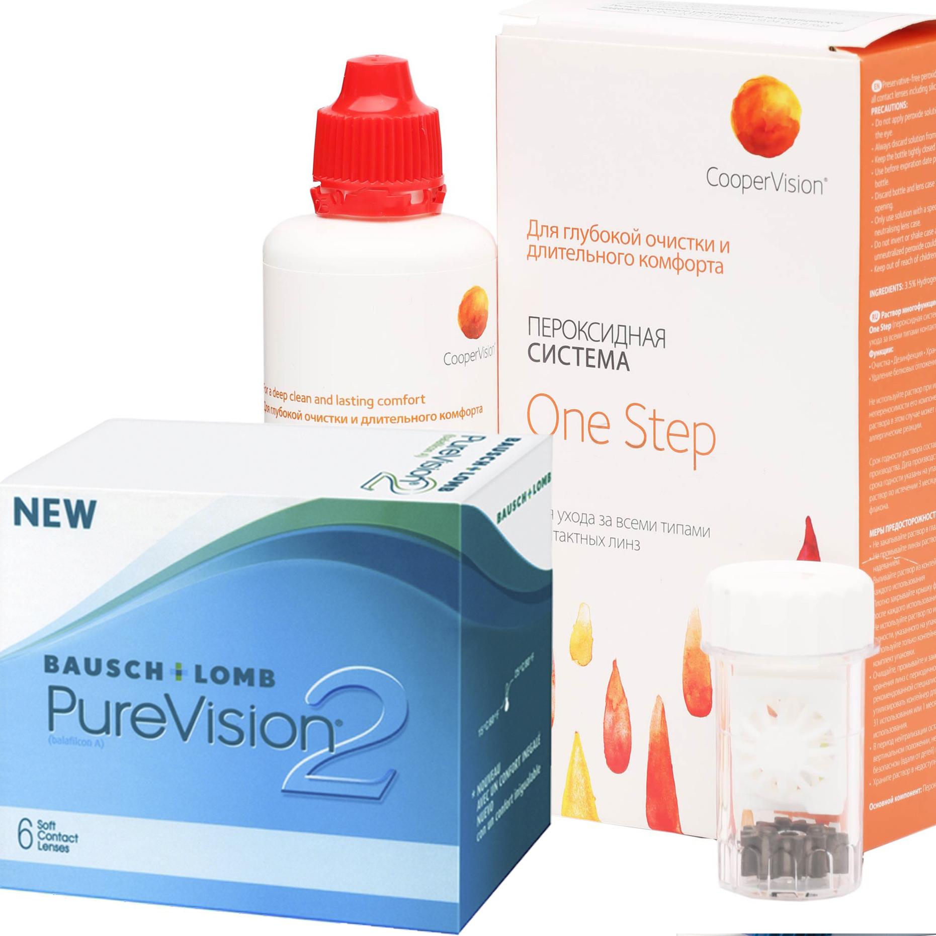 Купить 2 6 линз + One Step, Контактные линзы PureVision 2 6 линз R 8.6 -4, 75 + Раствор One Step 360 мл