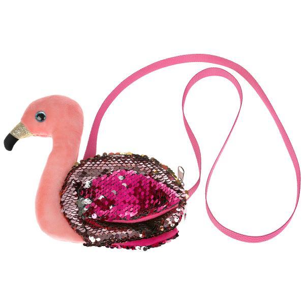 Купить Мягкая игрушка сумочка в виде фламинго из пайеток 16х18см, в пак МОЙ ПИТОМЕЦ, Мой питомец,