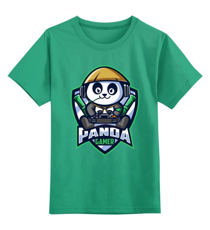 Купить 0000003505933, Детская футболка Printio Панда цв.зеленый р.116,