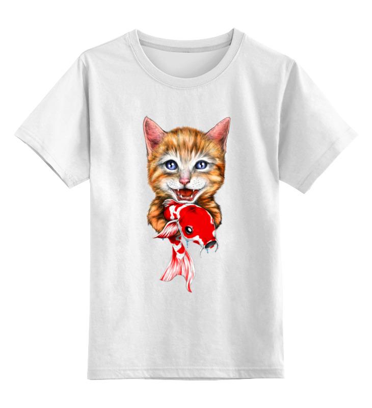 0000003512345, Детская футболка Printio Котик цв.белый р.116,  - купить со скидкой