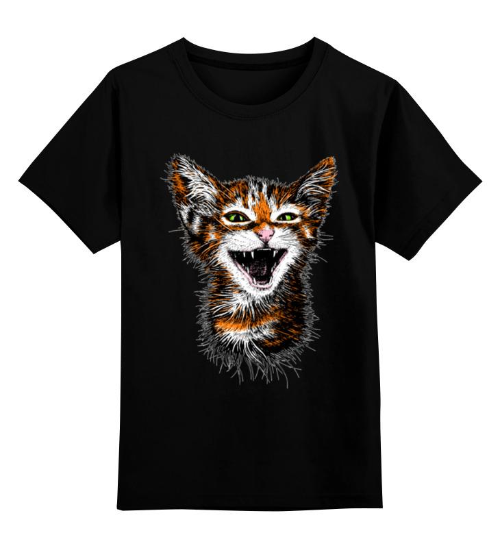 Купить 0000003512349, Детская футболка Printio Котик цв.черный р.116,