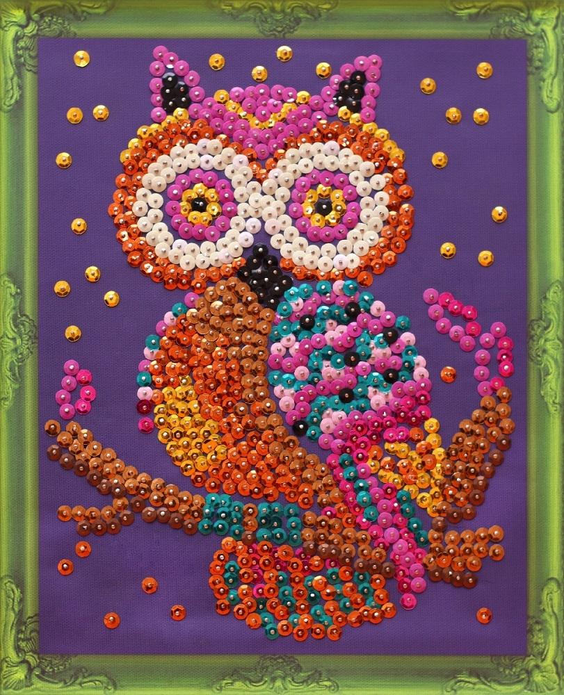Купить Сова картина из пайеток на холсте Color Kit CM004, Картина из пайеток на холсте Color Kit CM004 Сова,