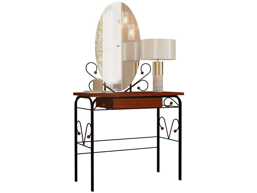 Туалетный столик Сандра с ящиком Черный металл/Орех
