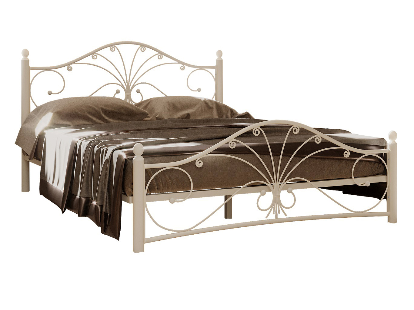 Односпальная кровать Сандра Кремово белый металл, 120х200