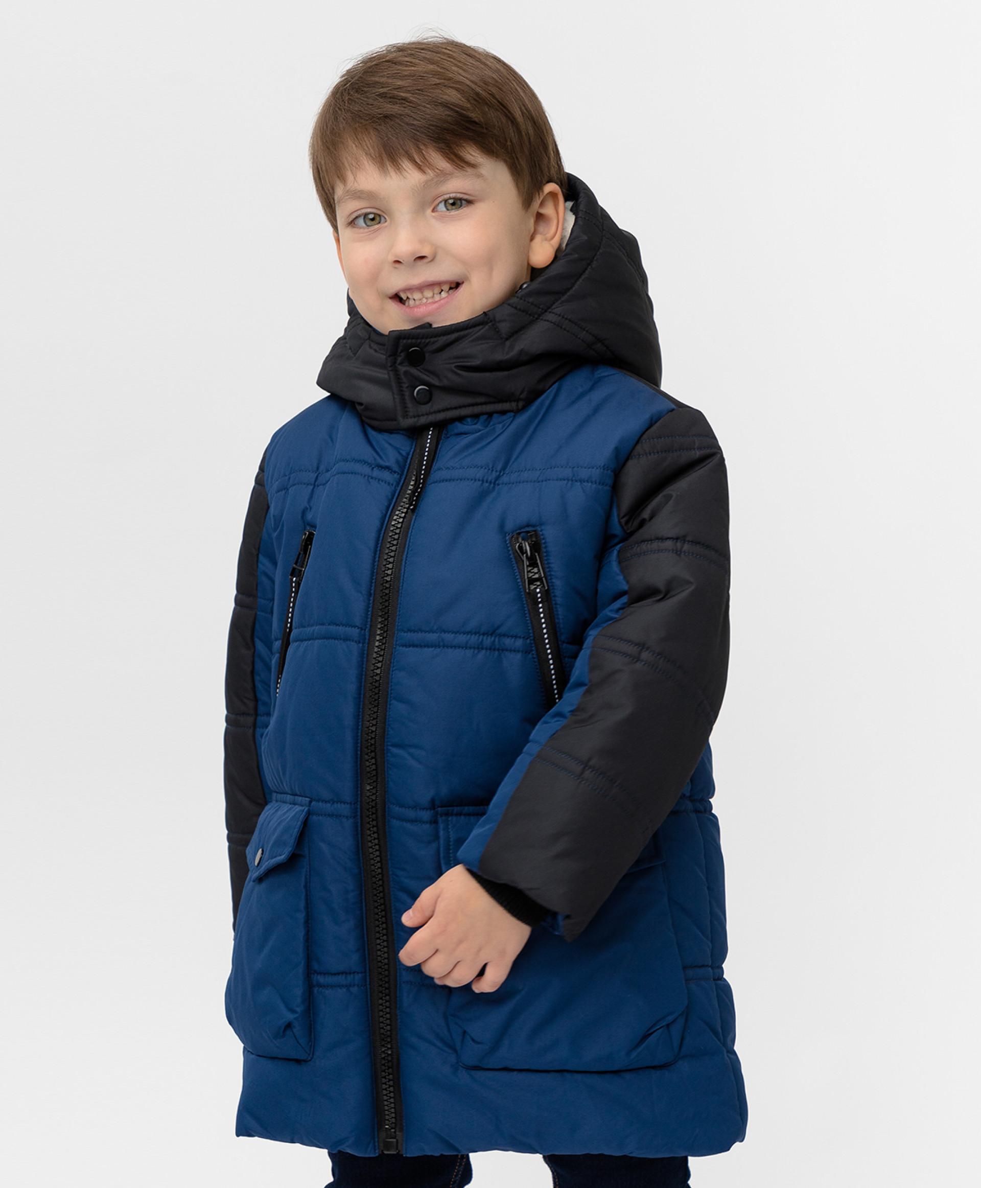 Темно синее зимнее пальто Button Blue размер