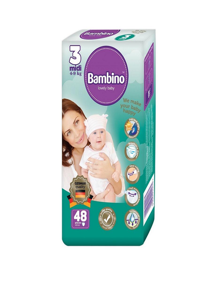 Подгузники детские Bambino Midi 4-9 кг, 48 шт.