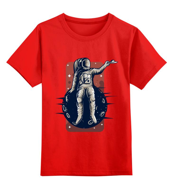 Купить 0000003536390, Детская футболка Printio Астронавт цв.красный р.104,