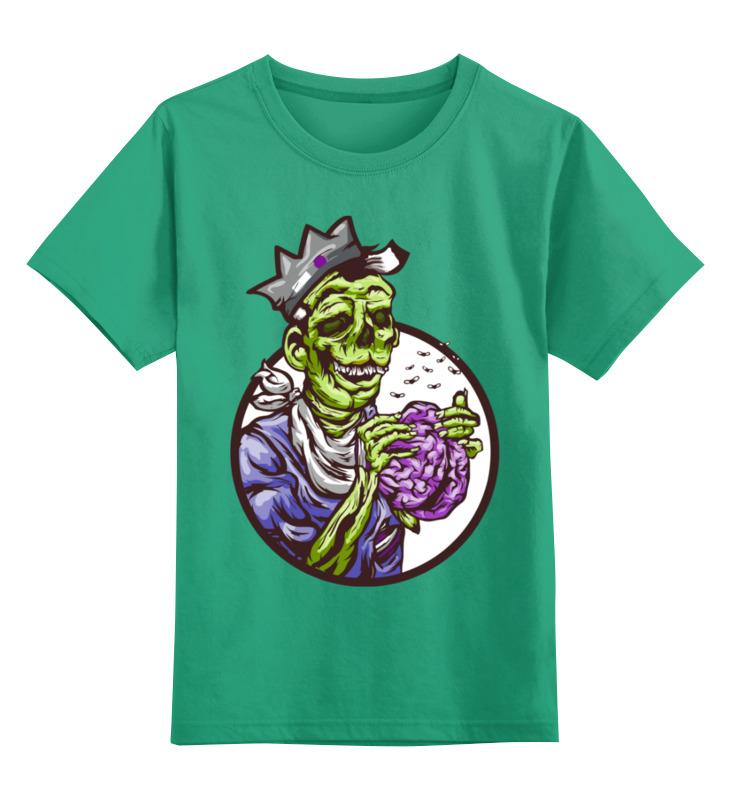 Купить 0000003484531, Детская футболка Printio Зомби цв.зеленый р.164,