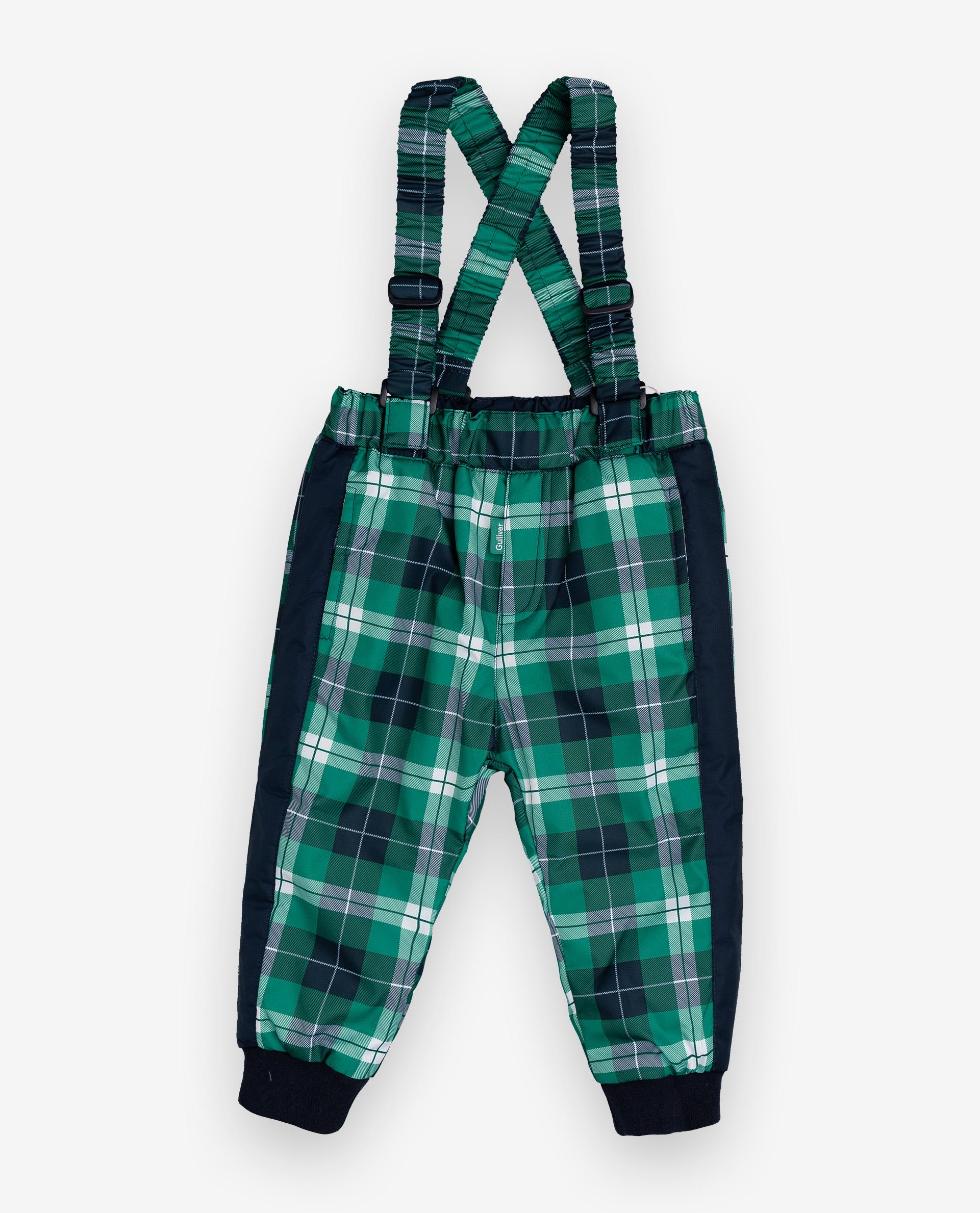 Утепленные брюки для мальчиков Gulliver, цв. зеленый, р.86 12033BBC6401