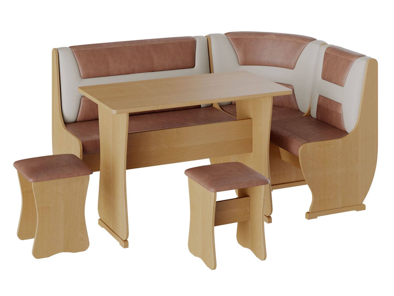Кухонный уголок Альянс 3 Ольха/Бежевый, коричневый, экокожа