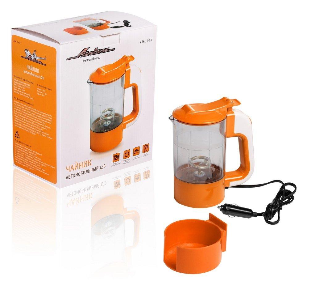Чайник автомобильный Airline, 12В, прозрачный/оранжевый пластик, автоматическое