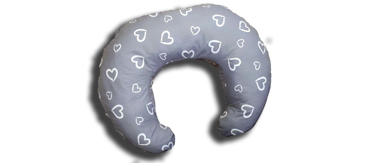 Подушка для кормления TEXXET C Сердечки на сером