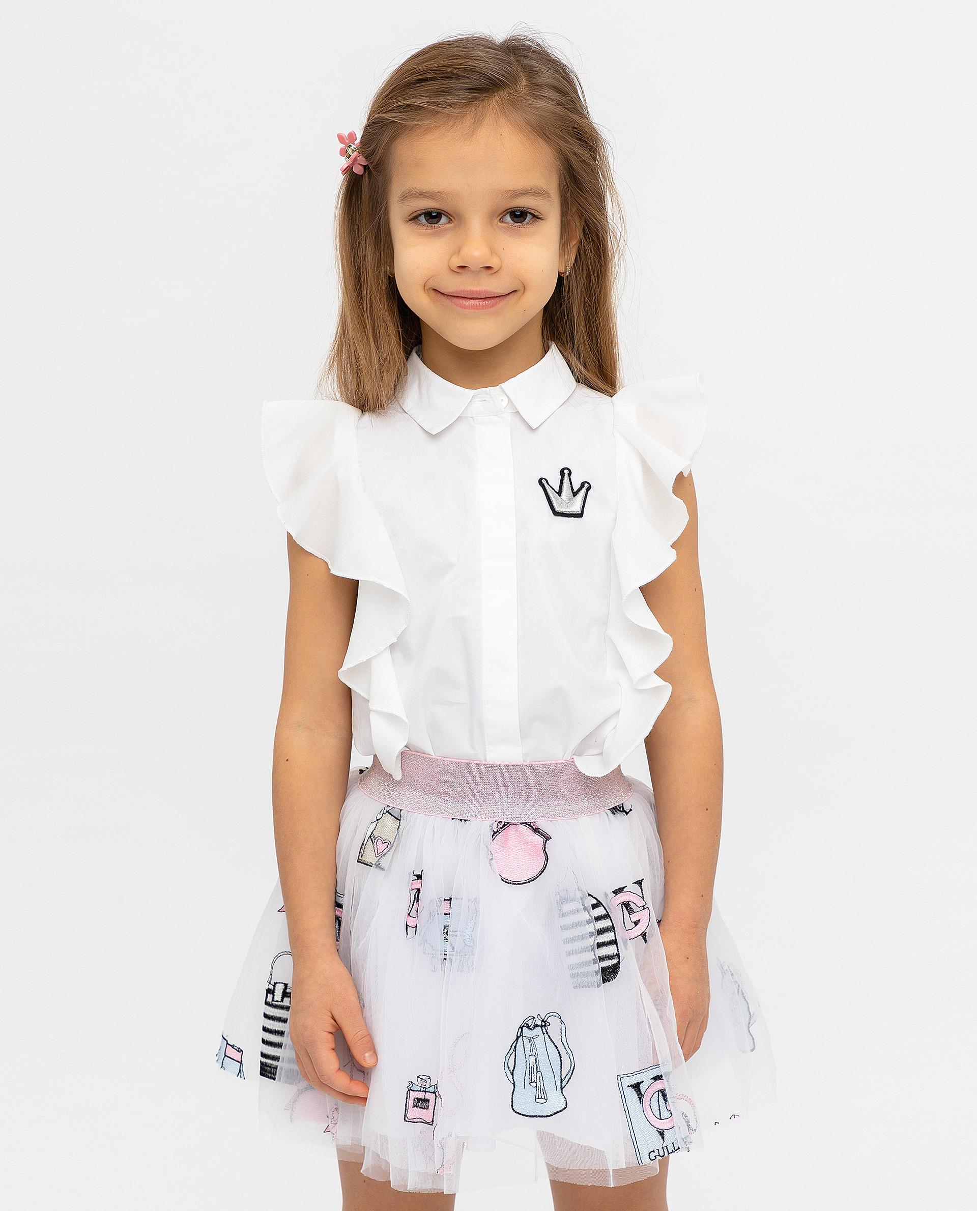 Купить 12001GMC2202, Блузка для девочек Gulliver, цв. белый, р.104,