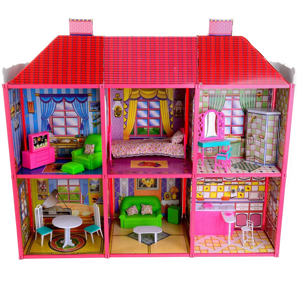 Кукольный дом Happy 2 этажа, с мебелью,