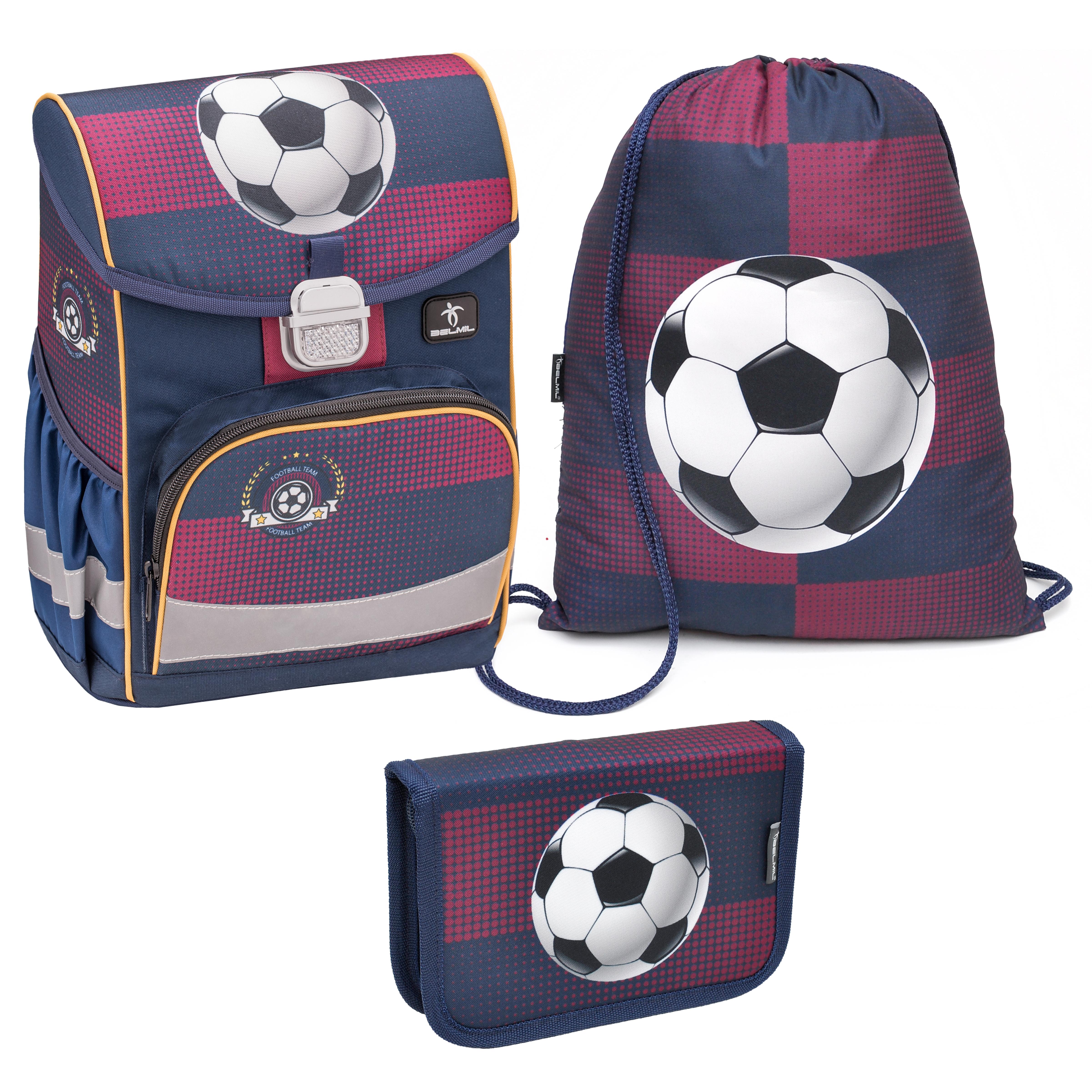 Купить Ранец Belmil Click Football Club-2 с мешком для обуви и пеналом, Школьные рюкзаки для мальчиков
