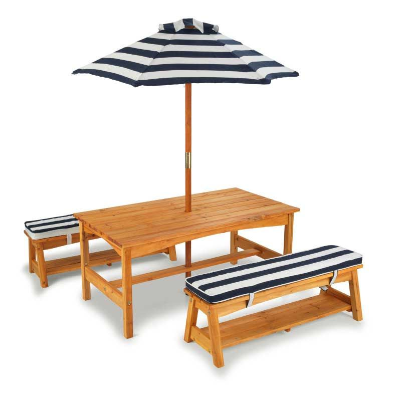 Стол с двумя скамейками и зонтом (сине-белые полосы) KidKraft 00106_KE
