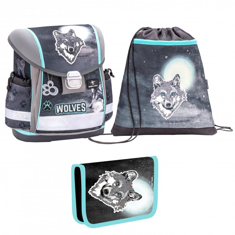 Ранец детский Belmil Classy Wolf с мешком для обуви и пеналом