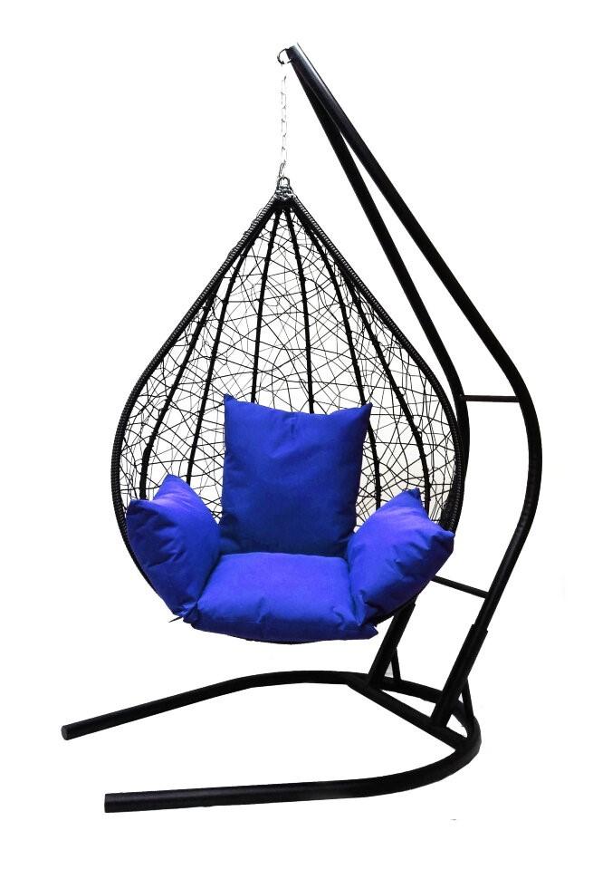 Подвесное кресло Алания черное XXL с синей подушкой Со стойкой, Черный фото
