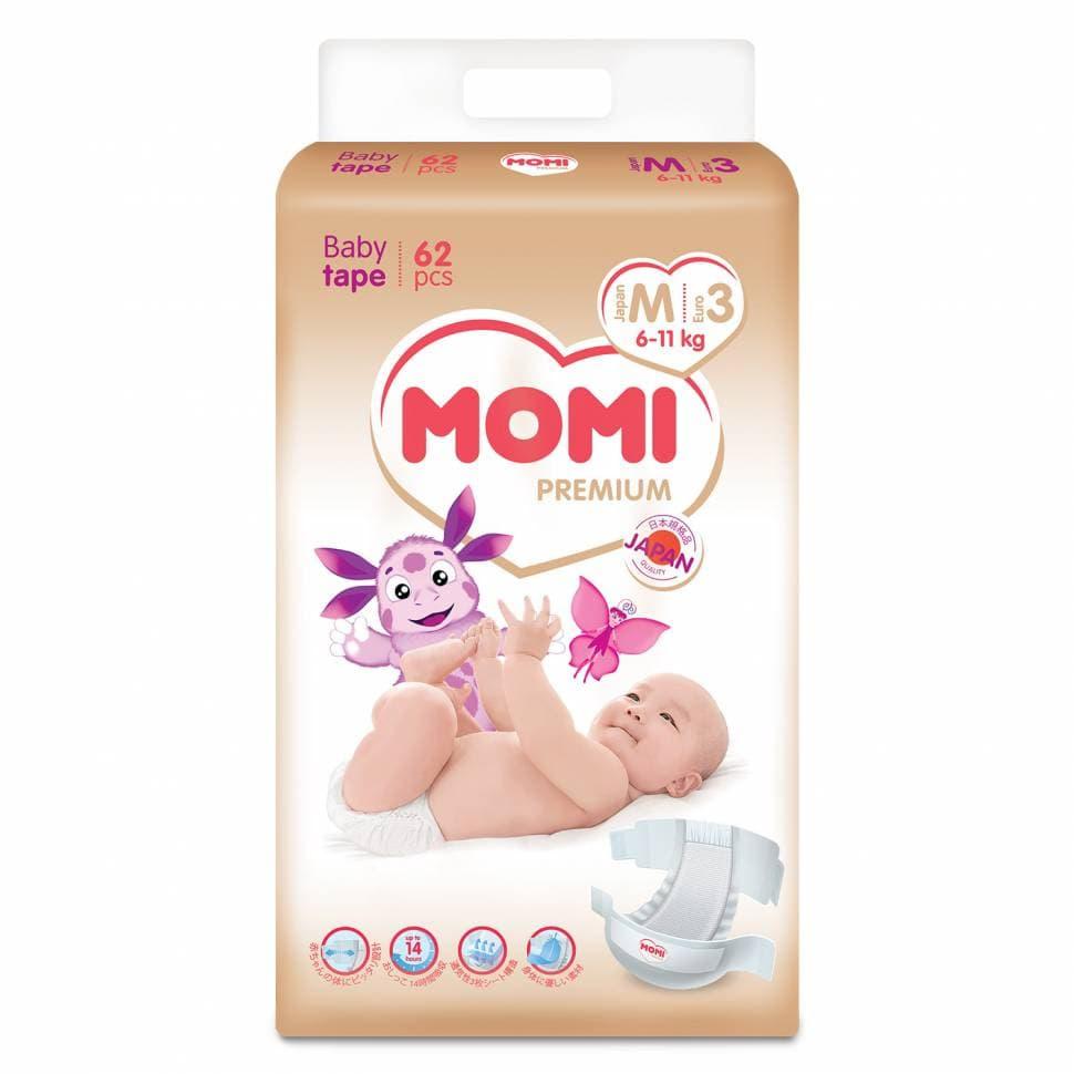 Купить Подгузники MOMI Premium 3/M (6-11 кг), 62 шт.,