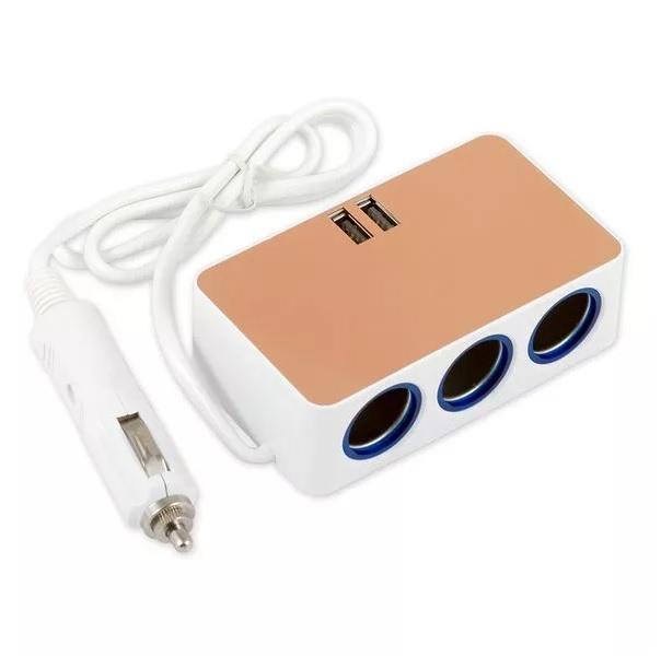 Разветвитель прикуривателя ARNEZI на 3 гнезда и 2 USB 5А 100Вт 12В/24В A0601004