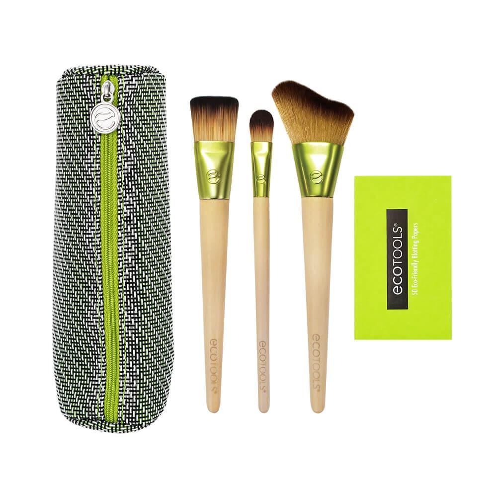 Набор для макияжа Ecotools Travel And Glow Beauty Kit - 3 кисти + косметичка и салфетки