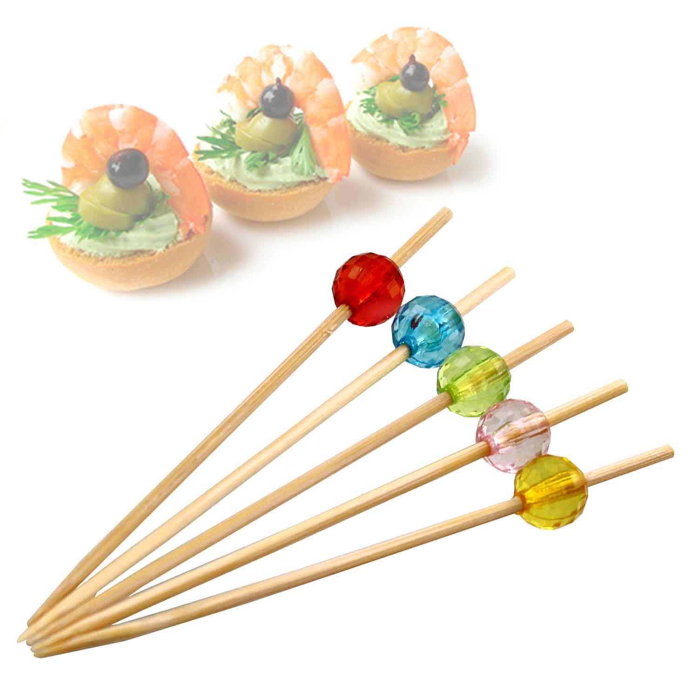 Набор пик для канапе Цветные бусины, бамбуковые,