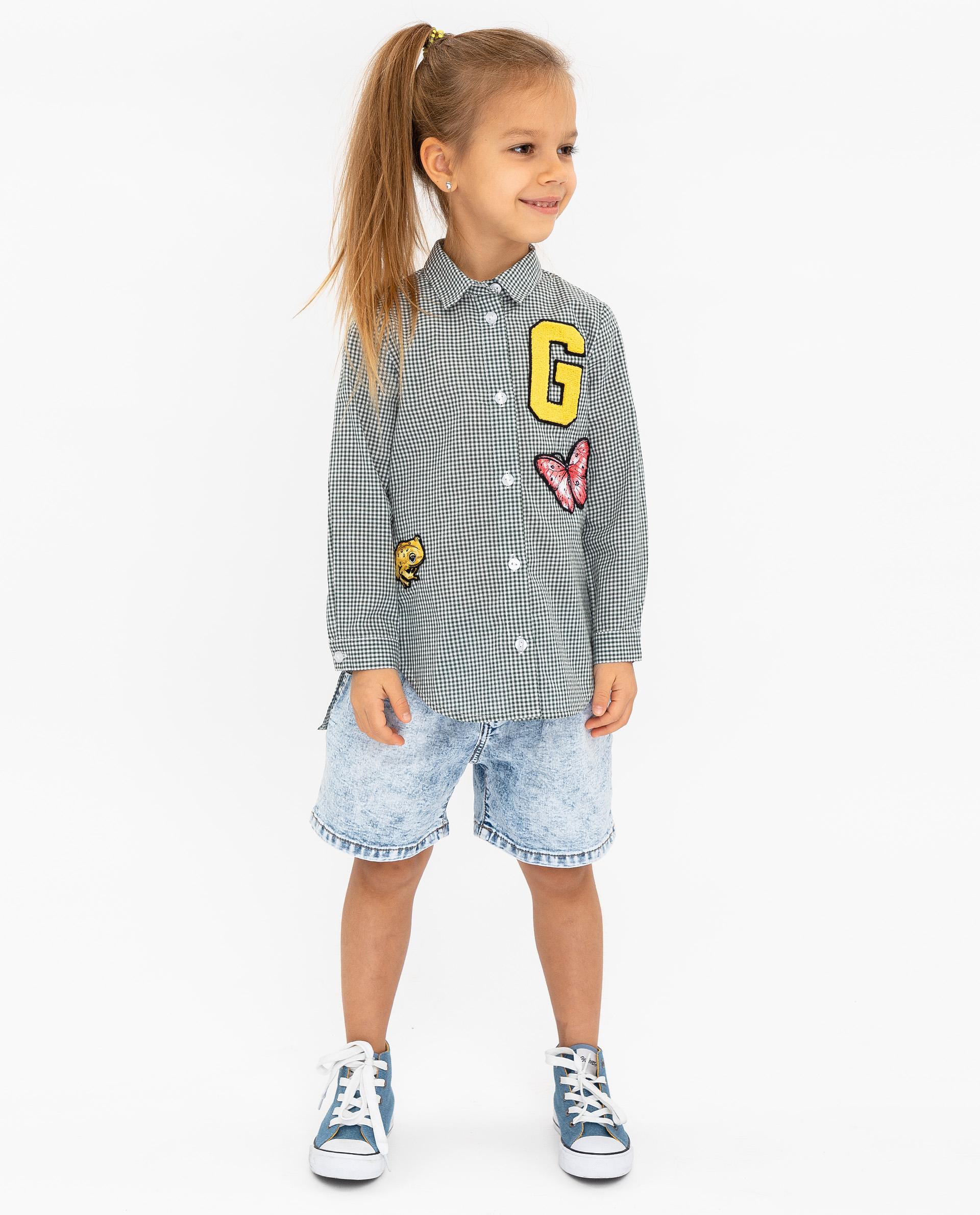 Купить 12002GMC2203, Рубашка для девочек Gulliver, цв. зеленый, р.104,