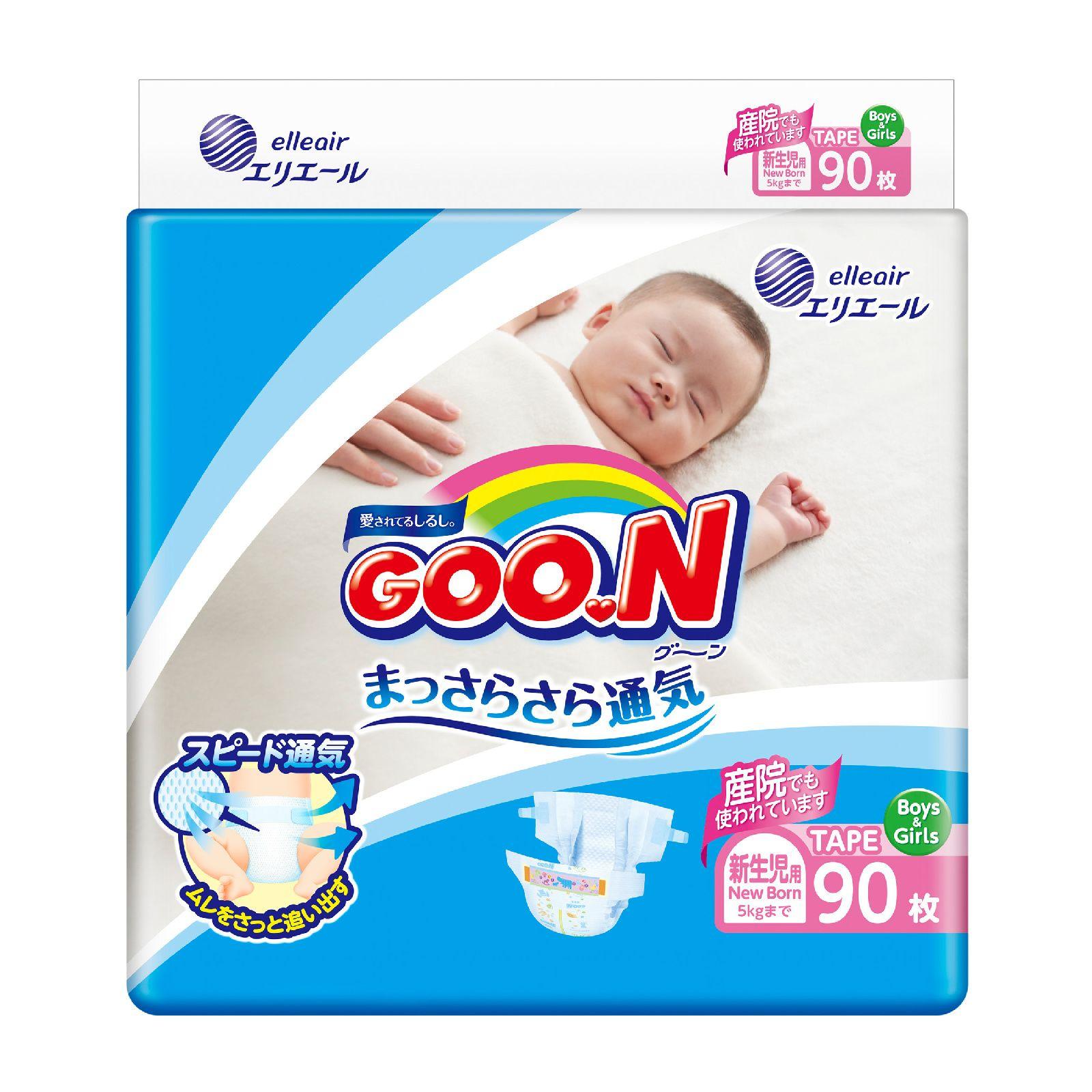 Купить Подгузники GOO.N NB (0-5 кг), 90 шт., Goon,