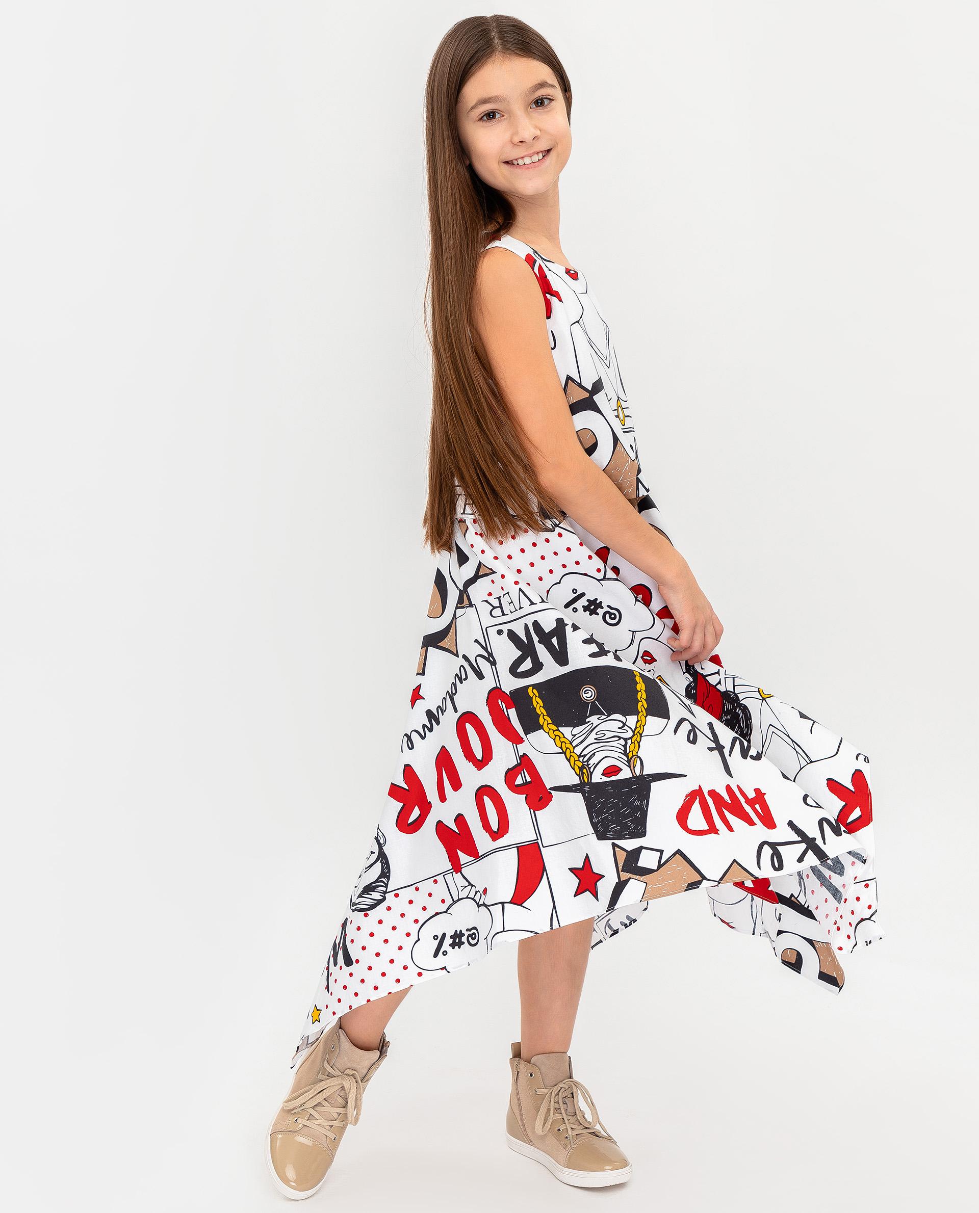 Купить 12008GJC2504, Платье для девочек Gulliver, цв. белый, р.164,