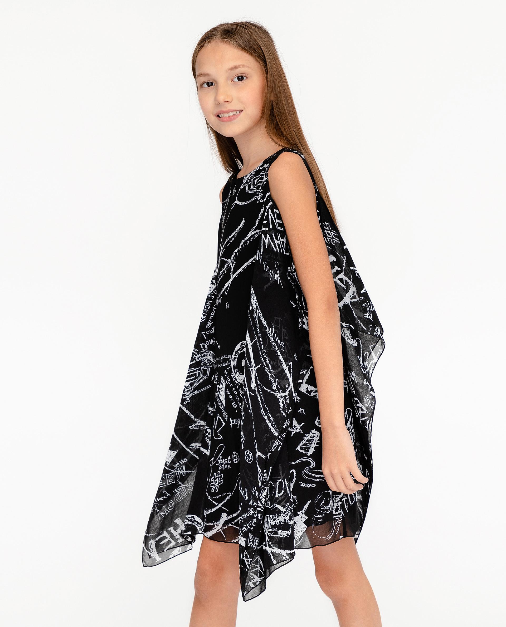 Купить 12007GJC2502, Платье для девочек Gulliver, цв. черный, р.140,