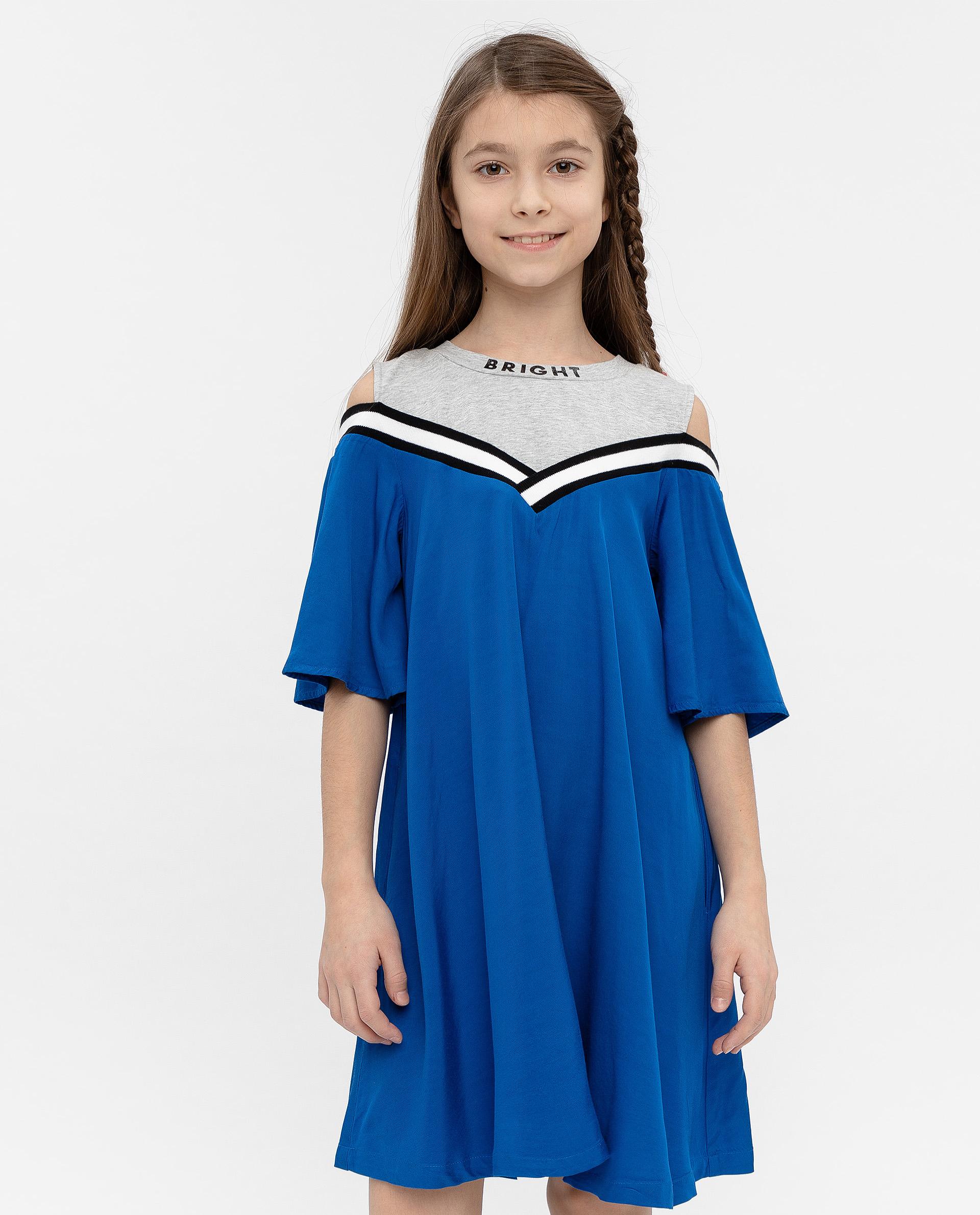 12009GJC2503, Платье для девочек Gulliver, цв. синий, р.140,  - купить со скидкой