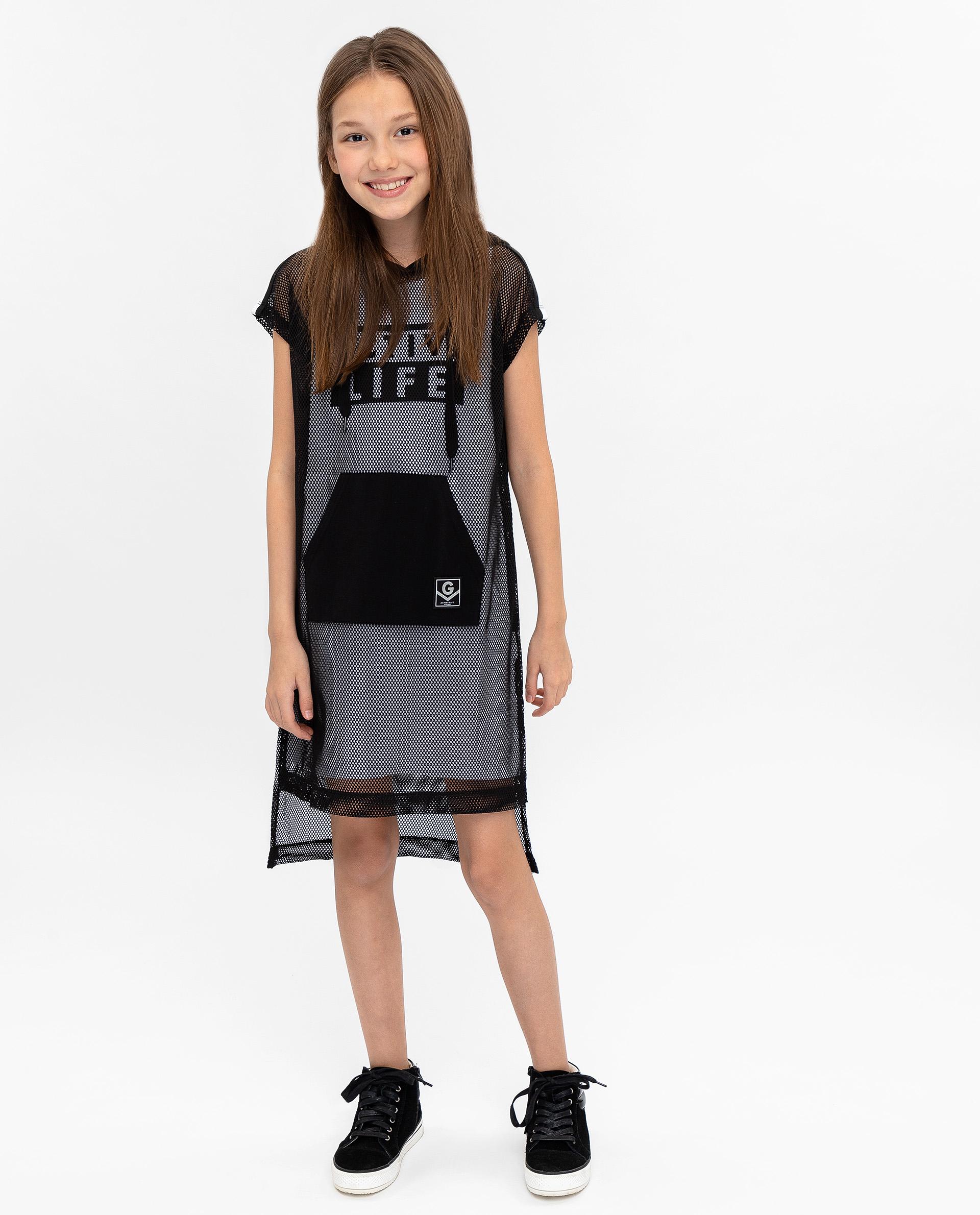 Купить 12009GJC5002, Платье для девочек Gulliver, цв. черный, р.140,