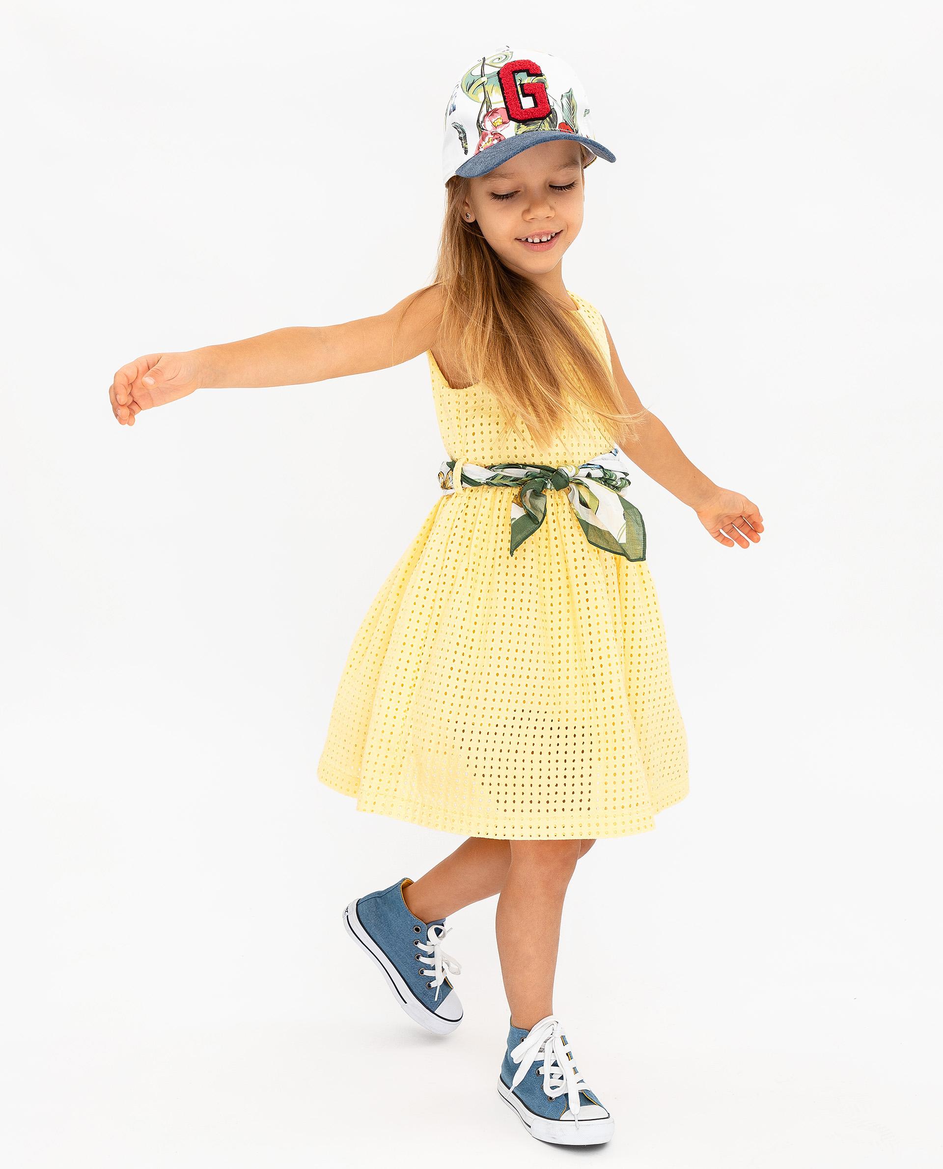 Купить 12002GMC2502, Платье для девочек Gulliver, цв. желтый, р.104,