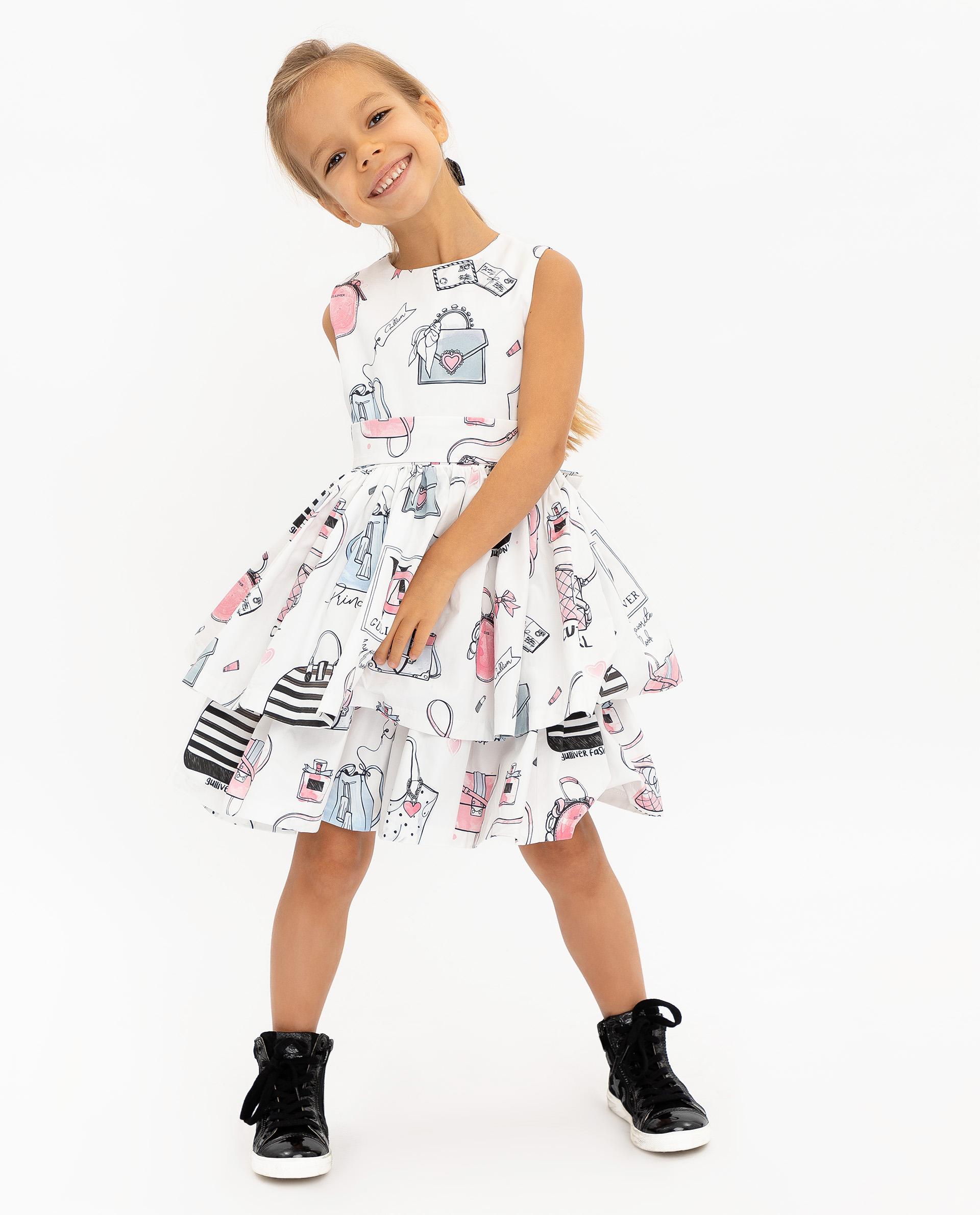 Платье для девочек Gulliver, цв. белый, р.116 12001GMC2501