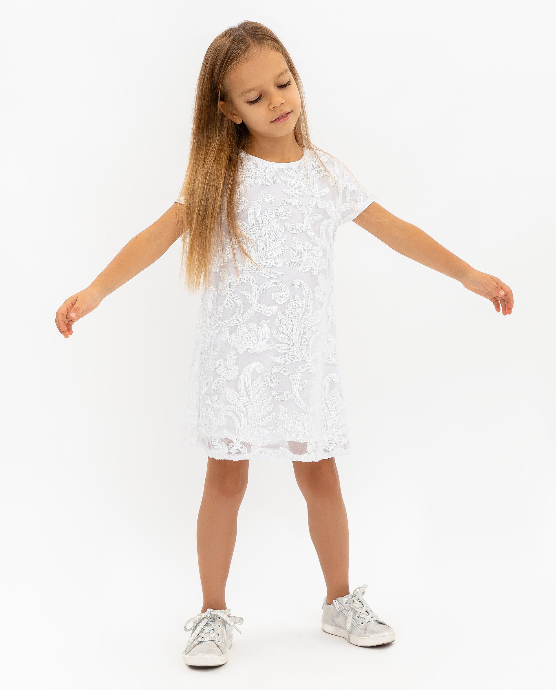 Купить 120GPGMC2501, Платье для девочек Gulliver, цв. белый, р.104,