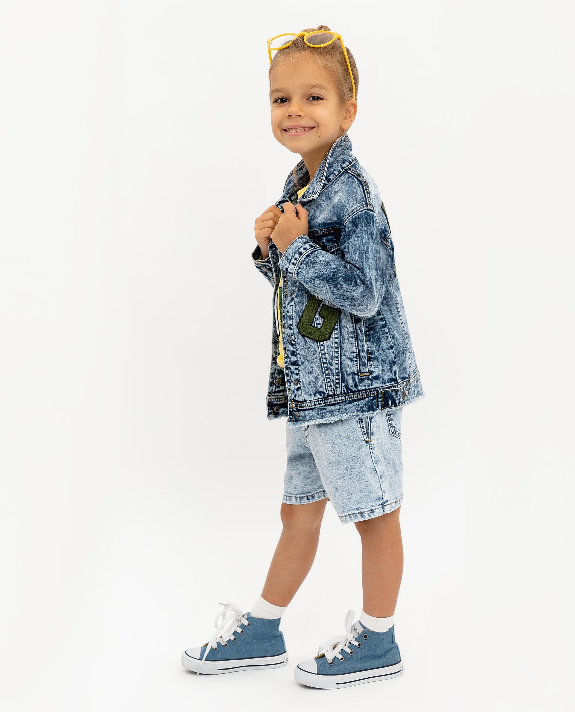 Купить 12002GMC4201, Джинсовая куртка для девочек Gulliver, цв. голубой, р.104,