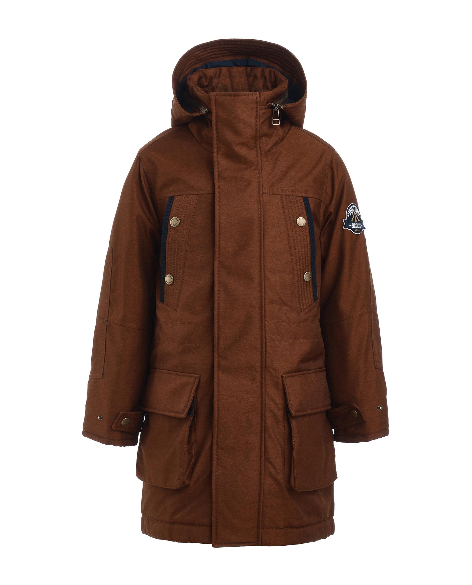 Пальто для мальчиков Gulliver, цв. оранжевый, р.134