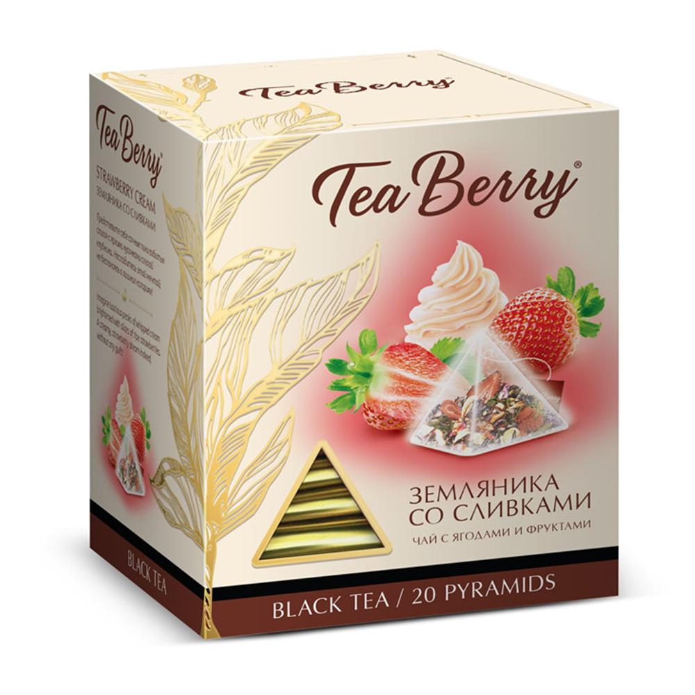 Чай Tea Berry земляника со сливками черный с добавками 20 пирамидок
