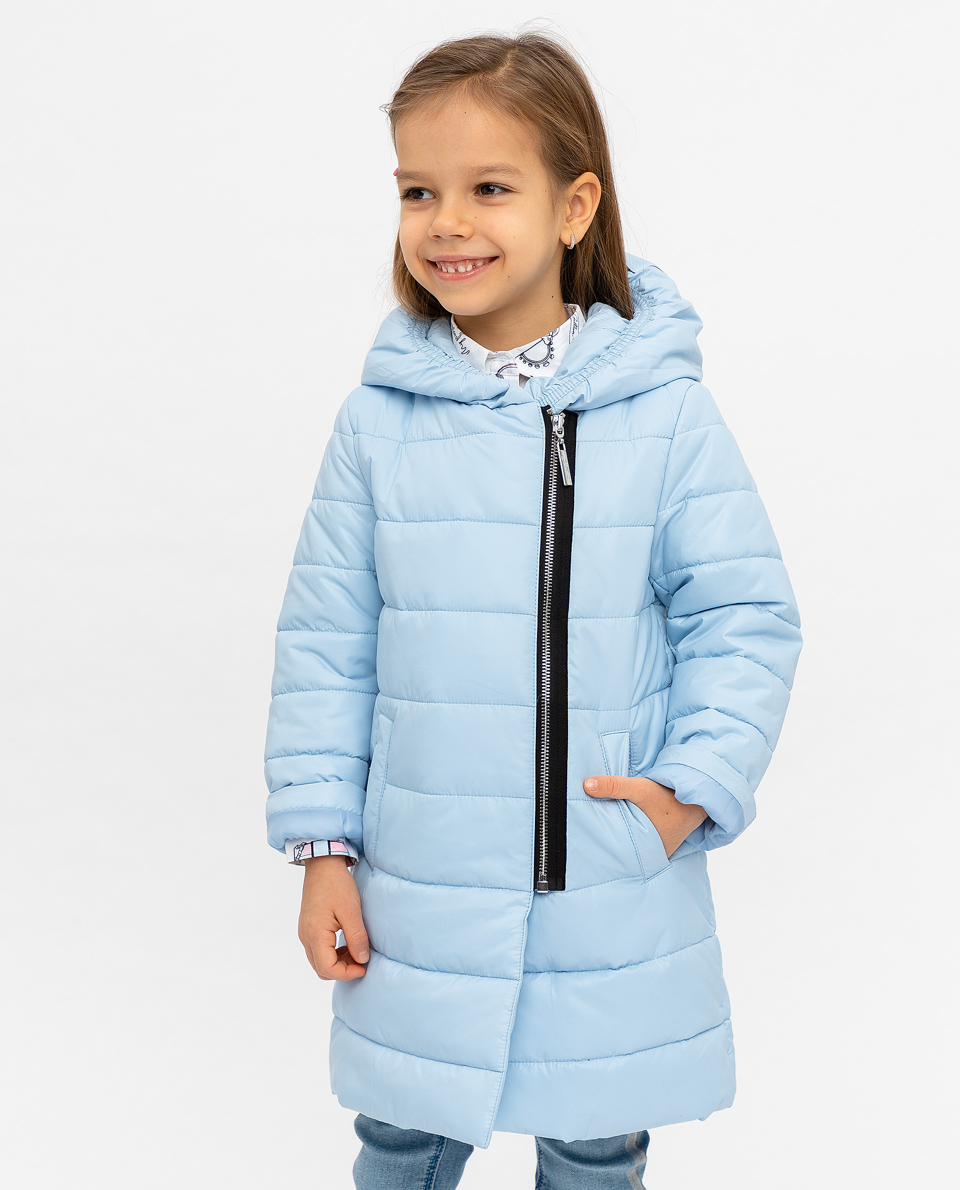 Пальто для девочек Gulliver, цв. голубой, р.128 12001GMC4501