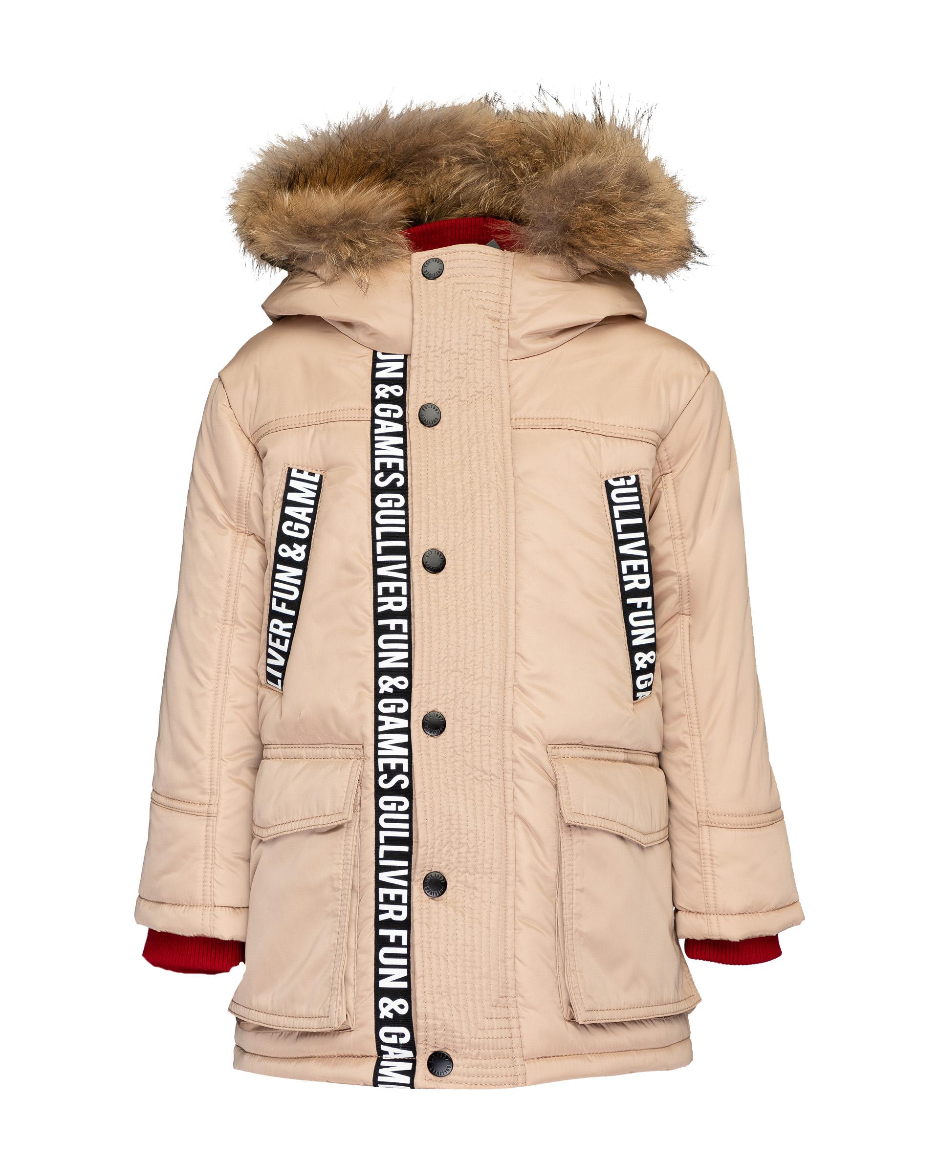 Пальто для мальчиков Gulliver, цв. бежевый, р.116