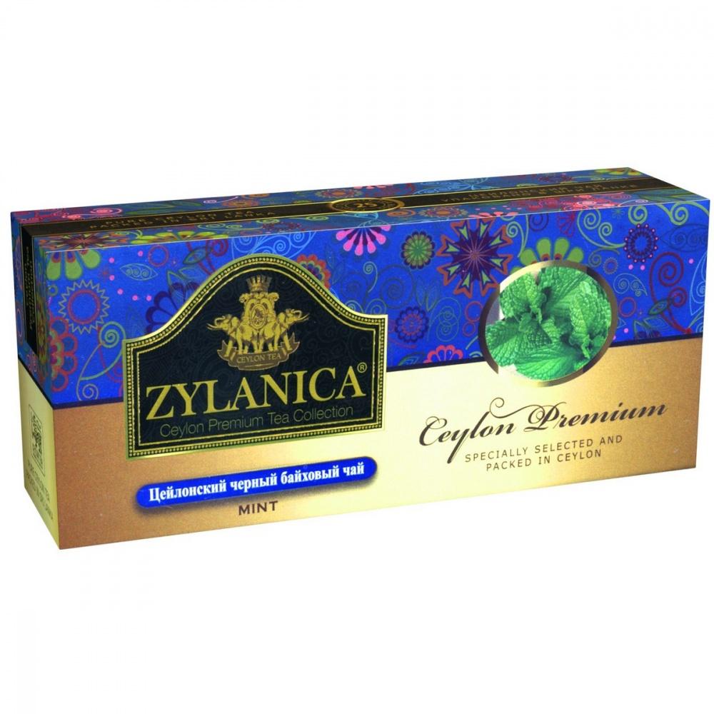 Чай Zylanica Ceylon Premium черный байховый с мятой 25 пакетиков